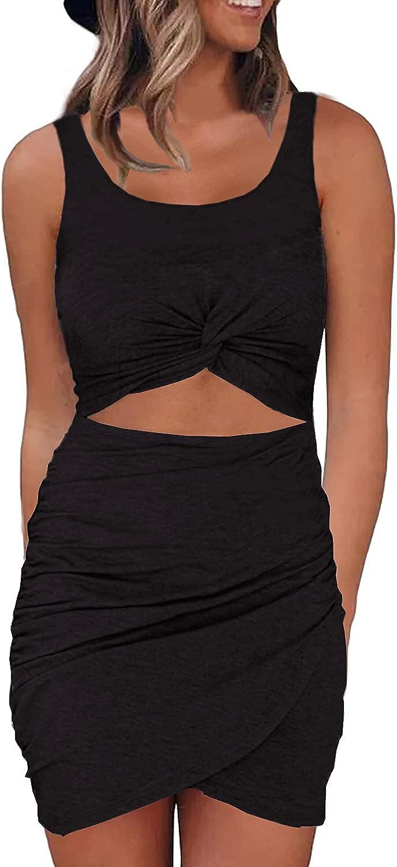 Zalalus Womens Sexy Twist Front Club Party Dresses Sleeveless Wrap Slim Bodycon Mini Dress
