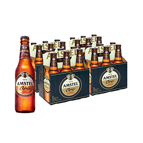 Amstel Oro Cerveza - 4 Packs de 6 Botellas 250 ml - Total: 6 L