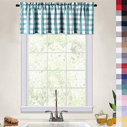 Buffalo Check Gingham Pattern Thick Valance Curtains for Kitchen Cafe Curtains Bathroom Window Curtains, 52x15 Inches, Teal/White