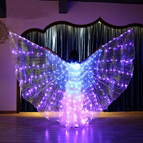 Z&X Dance Fairy Opening Belly Dance LED Ali Isis con bastoni Rods-Wings 600 LED Luminose Light Up Stage Performance Puntelli-Passato CE, Certificazione FCC-5 modalità