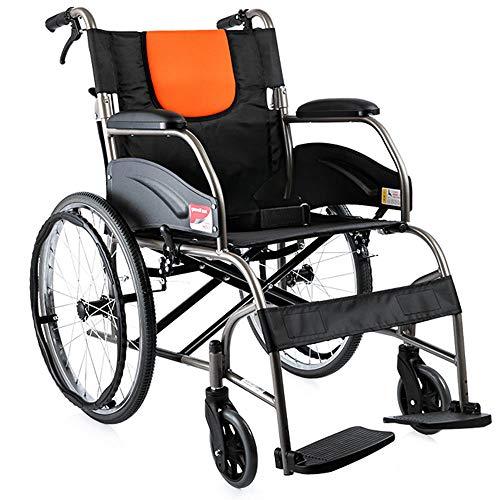 HPDOSHP Rollstuhl Standardrollstuhl Rollstühle mit Selbstantrieb schmal Klappbar Fußstützen abnehmbar, 20 Zoll Hinterrad,Sitzbreite 45cm