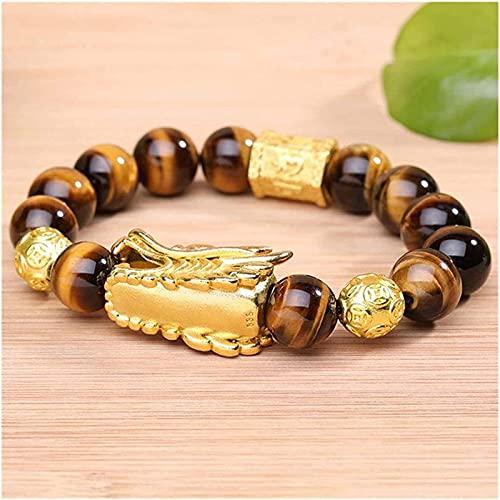 Cuentas de arte de piedras preciosas de la niña Feng shui riqueza pulsera natural tigre ojo pulsera con dorado dragón cabeza ornamento corazón sutra buddha cuentas pulsera atrae buena suerte dinero ja