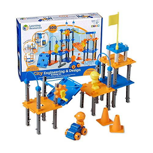 Learning Resources City Engineering and Design Building Set, Engineer STEM Toy, 100 Pieces, Ages 5+,Multi-color