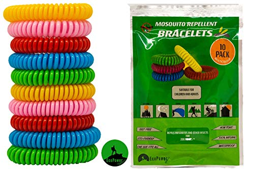 ECOPOWER SPORTS Mosquito Repellent Bracelets (10 Pack) Anti Insect Midge and Bug Repellent Bands To Repel All Types of Mosquito Protects your Kids, Waterproof & safe for children & adults.