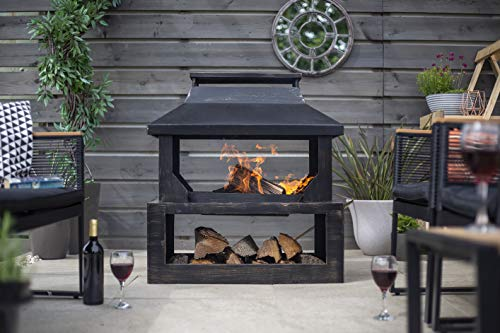 La Hacienda Stonehurst Steel Outdoor Fireplace, Bronze Effect, 58281