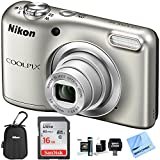 Nikon COOLPIX A10 Digital Camera 16.1MP 5X Zoom NIKKOR Glass Lens - Silver with 16GB Memory Card All...