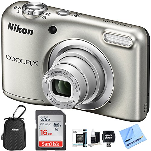 Nikon COOLPIX A10 Digital Camera 16.1MP 5X Zoom NIKKOR Glass Lens - Silver with 16GB Memory Card All Weather Sport Case Bundle (Renewed)