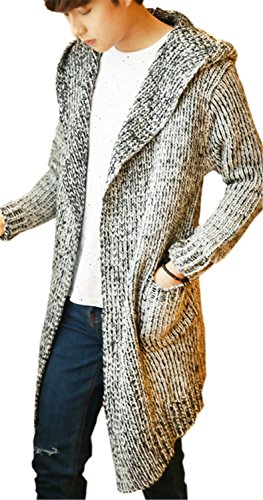 DigerLa Men's Fashion Open Front Hooded Knitted Cardigan Long