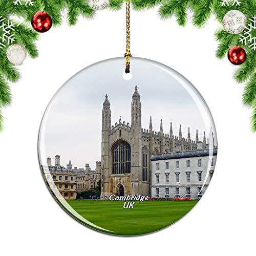 Weekino UK England Cambridge University Christmas Xmas Tree Ornament Decoration Hanging Pendant Decor City Travel Souvenir Collection Double Sided Porcelain 2.85 Inch