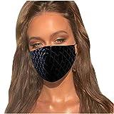 Lulupi Glitzer Mundschutz Multifunktionstuch 3D Glänzend Mund-Nasenschutz Winddicht Atmungsaktiv Baumwolle Stoffmaske Mode Party Pailletten Halstuch Bandana Maske