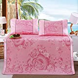 SDCVRE Funda de Almohada 1 Set Summer 3PCS Ice Silk Fitted Sheet Cool Hand-Knitted Sheets Mattress Cover Silky Pillow Case Cool Pillows Cover Bed,Pink,200x220cm