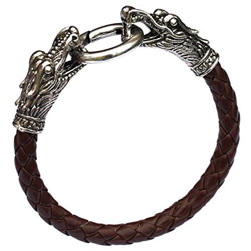 Gaeruite Herren Armband, Dragon Head Style Armreif, Lederarmband, PU-Armband für Männer (Coffee, Drachenkopf-geformter Armreif)