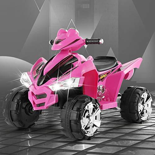 Fitnessclub 12V Electric Kids Ride On ATV Quad Treaded Tires LED Lights 4 Wheeler Ride On Car 2 Speeds, Head Lights, 4 Wheels (Pink)