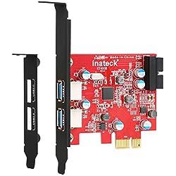 Inateck Scheda PCI Express interna di espansione Hub con 2 porte USB 3.0 e un connettore interno da 20 pin - Adattatore Mini PCI-E Controller senza alimentazione esterna necessaria [SSD ottimizzato]