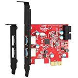 Inateck PCIe USB 3.0 Tarjeta Controladora PCI Express de 2 Puertos, Mini PCIe Tarjeta de expansión USB 3.0 Adaptador, con USB 3.0 Interno de 20 Pines