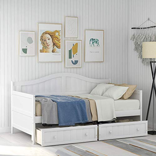 Wood Daybed Twin with Drawers, Twin Size Daybed Frame Sofa Bed with Storage/Twin Bed Frame, No Box Spring Needed (Two Drawers White)