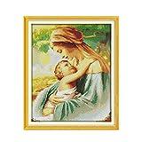 Kit punto croce, per principianti, Figura religiosa Madonna con Bambino Gesù 40X50CM DIY Handmade Needlework Design Ricamo Kit Precisa Stampato Decorazione Domestica 11CT (Tela prestampata)