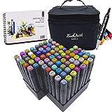 L-JUWA マーカーペン イラストマーカーペン 水彩ペン コピックペン 80色セット ペンスタンド スケッチブック付き 太細両端 塗り絵、描画、落書き、学習用 touch coolマーカーペン キャリングケース付き (80色+スケッチブック)