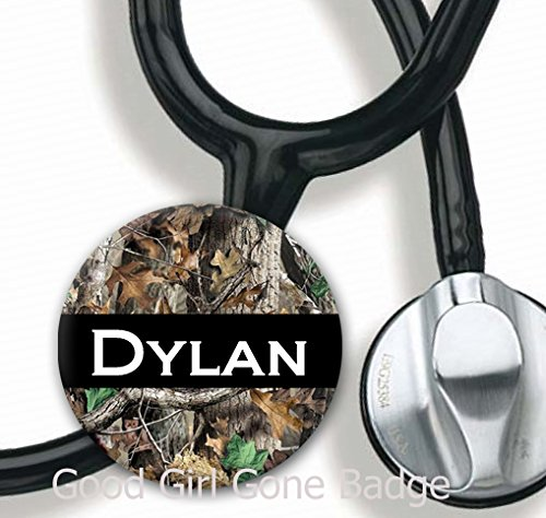 Stethoscope Tag - White Camo Block - Personalized Name - Steth ID Tag