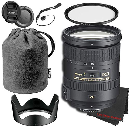 Nikon (I) AF-S DX NIKKOR 18-200mm f/3.5-5.6G ED VR II Lens Bundle with Hood & Case, UV-Ultraviolet Protection Filter, Cloth and Lens Cap Keeper