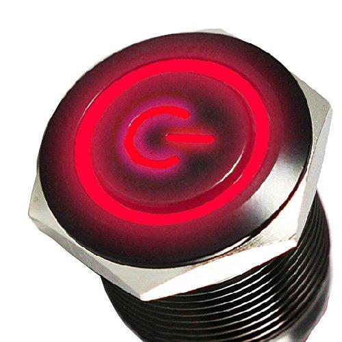 Mintice™ boîtier noir 16mm symbole de puissance Rouge angle oeil LED 12V bouton poussoir voiture interrupteur à bascule en métal