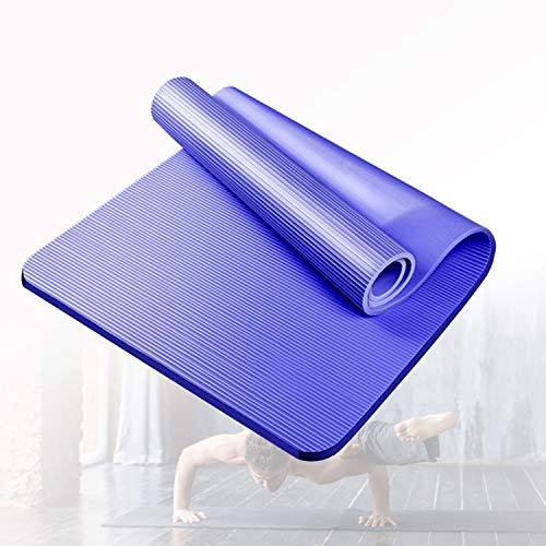 HIMABeauty Alfombrilla de Yoga Texturizada Antideslizante, Alta Densidad y Extra Gruesa Esterilla Ejercicio, Ideal para Pilates Ejercicios Fitness Gimnasia Estiramientos,Azul