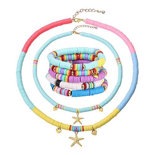 Ornaland - Conjuntos de Joyas con Pulseras EláSticas Y Collares con Colgante, Collar con Colgante en Forma de Vaina/Colmillo + Pulseras de Arcilla, Color Mezclado