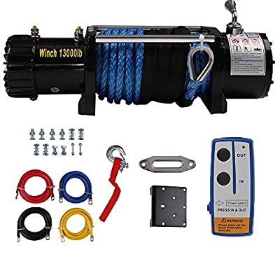 Wireless 13000 LBS Electric Winch with 26m Synthetic Rope, 12V DC Recovery Winch Fit for Jeep Truck ATV/SUV Towing Road Trailer, Mounting, Waterproof IP67, Handheld Remote Control Kit & Corded Control
