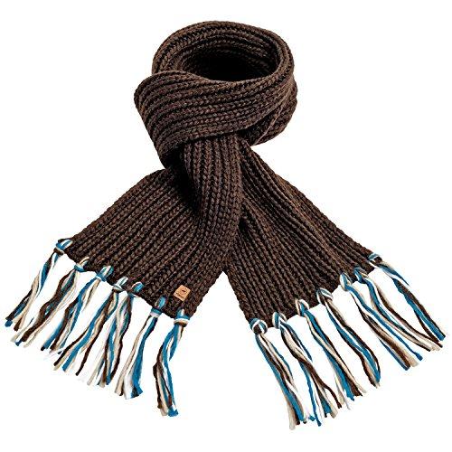 Pikeur Schal Uni mit Bunten Fransen, Dark Brown, One Size
