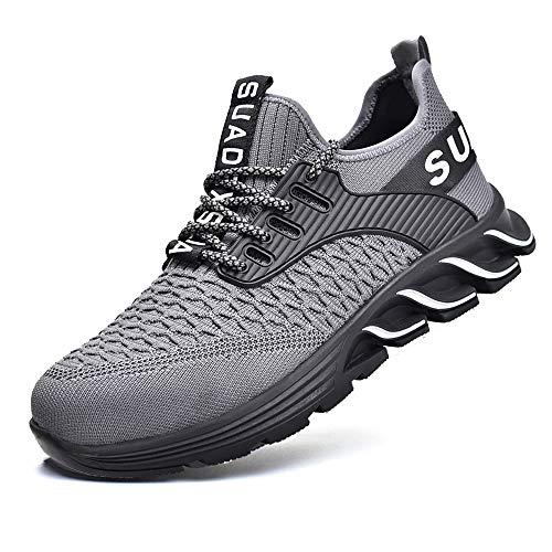 JACKSHIBO Arbeitsschuhe Herren Sicherheitsschuhe Damen S3 Leicht Sportlich Atmungsaktiv Schutzschuhe Stahlkappe Schuhe (Grau,43EU)