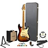 Sawtooth Sunburst Electric Guitar w/Vintage White Pickguard – Includes: Accessories, Sawtooh Amp, Hard Case & Online Lesson