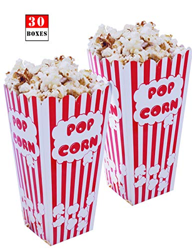 Best Price! Movie Theater Party Large Popcorn Boxes–Paper Popcorn Boxes Striped Red and White–Po...