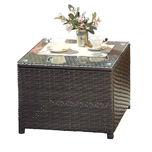 XIZZI Patio Furniture Table,Outdoor Table with Glass Top,Rattan Patio Coffee Tables (Middle Size, Brown)