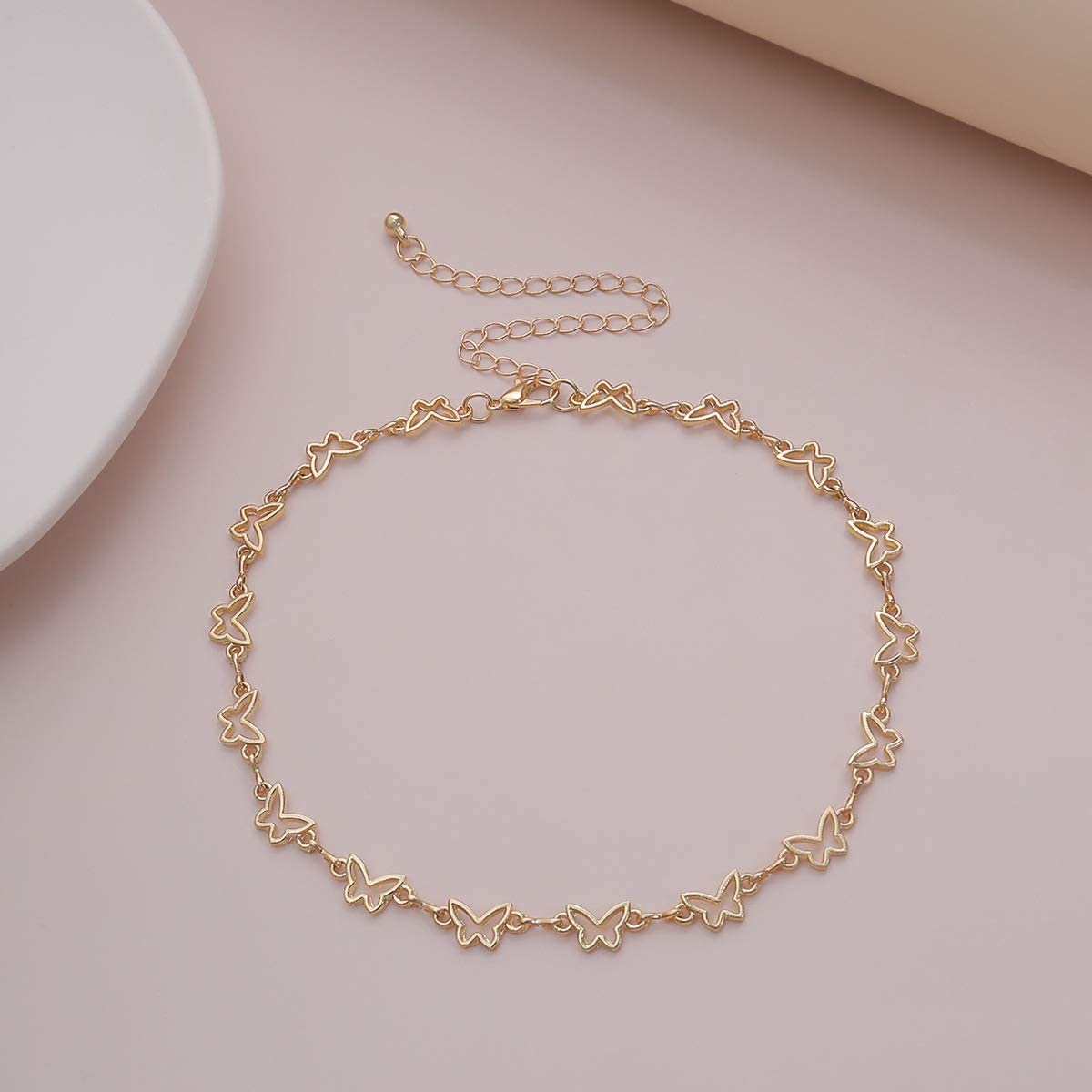 Konpicca 18K Real Gold Plated Chain Choker Necklace Hollow Tiny Butterfly Lucky Heart Link Necklace Minimalist Punk Clavicle Jewelry for Women