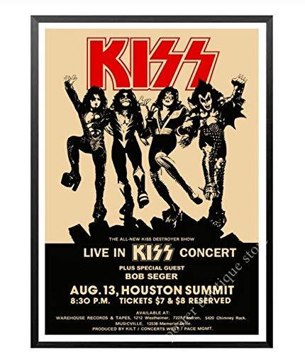 LGXINGLIyidian Heavy Metal Kiss Rock Band Leinwand Poster Musik Team Star Klassische Dekorative Malerei Wand Poster Aufkleber Tk409 50X70Cm