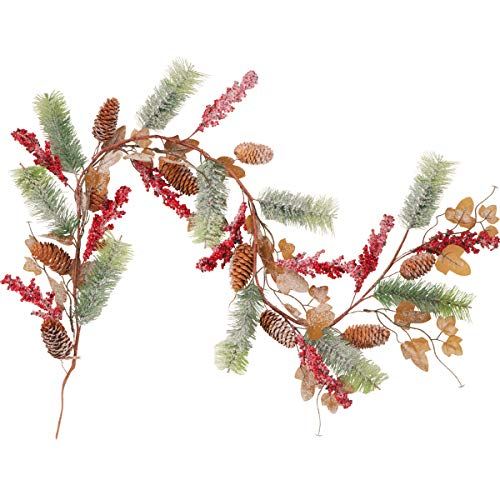 4.5FT Christmas Pine Garland Decoration Greenery Christmas Garland with Red Berry Pine Cones and Pine Needles for Holiday Mantel Fireplace Table Centerpiece