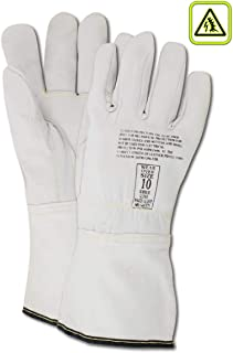 MAGID Linesman Low Voltage Protector Gloves | for Use with Rubber Electrical Insulating Gloves, Size 10, Pearl, (1 Pair)