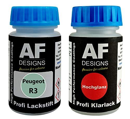 Alex Flittner Designs Lackstift Peugeot R3 Vert Opale Metallic + Klarlack je 50ml Autolack Basislack...