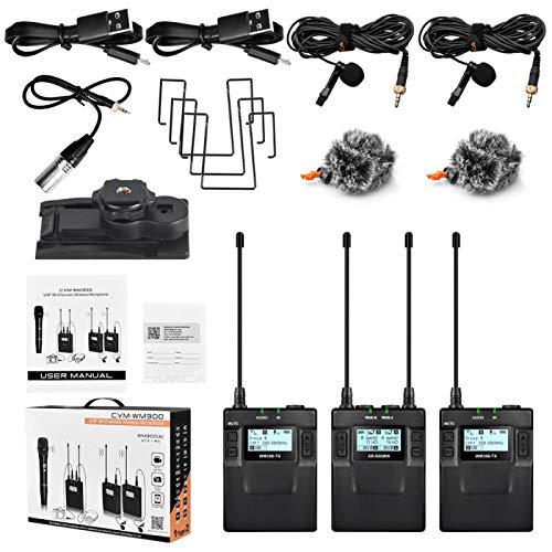 Receptor de micrófono inalámbrico, CVM-WM300A 1R2T UHF Kit de receptor de transmisores de micrófono con clip inalámbrico para DSLR