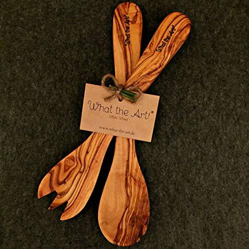 What the Art!® Olive Wood «Servidor» Gr. L   Olivenholz Salatbesteck + Geschenk   30 cm   Servierbesteck - Besteckset - Küchenhelfer