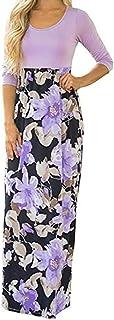 Vestido de Noche Informal de Fiesta de Playa de Tres Mangas con Estampado Floral Mujer Vestido Largo Largo Bohemio Largo