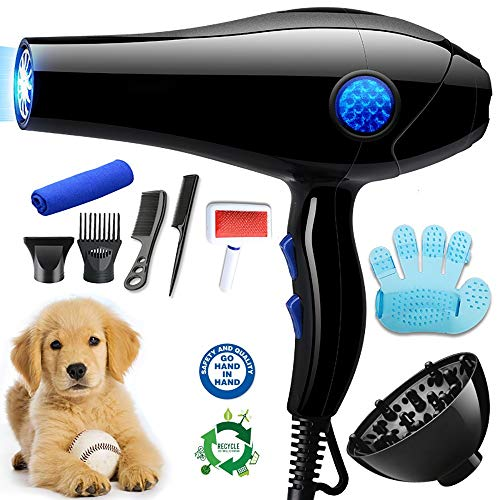 MOMAMO Haartrockner, Heimtierbedarf, Pet Trockner, Tierfön Hundepflege, Haustier Pflege, Hundetrockner Pet Dryer, stummschaltbarer Hundefön, Schnelltrockner, blaues Licht, Sterilisation