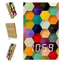 寝室用デジタル目覚まし時計キッチンオフィス3アラーム設定ラジオ木製卓上時計-抽象的なカラフルなハニカム壁
