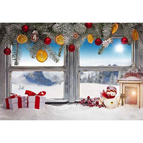 Fondos de Navidad para Fiestas Familiares, Invierno, Nieve, árbol, Papá Noel, Suelo de Madera, Fondos para niños, sesión fotográfica para Estudio fotográfico A3, 10x10ft / 3x3m