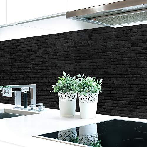 Keuken achterwand bakstenen muur antraciet Premium hard PVC 0,4 mm zelfklevend - direct op de tegels 60 x 80 cm