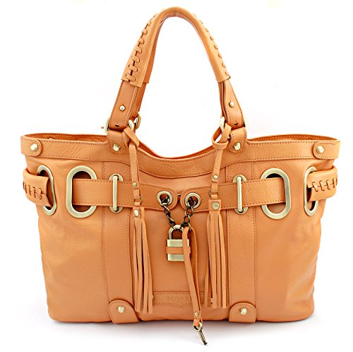 Bovari Whiskybraun XL Padlock Shopper Damen Handtasche - echt Leder - Farbe: Whiskey - super Soft Limited Edition