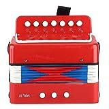7 teclas, 2 bajos, acordeón para niños, mini instrumentos musicales de acordeón, adecuados para niños, niños(rojo)