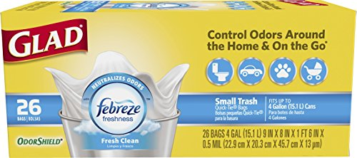 Glad Small Trash Bags - OdorShield 4 Gallon White Trash Bag, Febreze Fresh Clean - 26 Count
