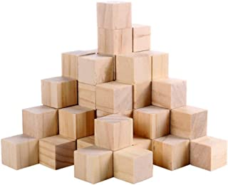 Fuhaieec 100 Pcs 1 Inch Wood Square Blocks for Puzzle Making Blank Wooden Cubes Wood Blocks for Baby Blocks Baby Shower DI...