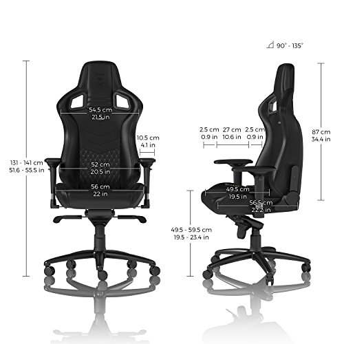 noblechairs Epic Gaming Chair - Office Chair - Desk Chair - Real Leather - Black
